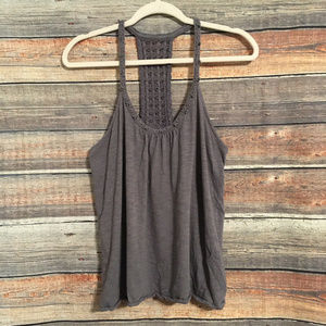 Lucky brand gray crochet beaded tank top